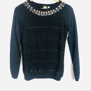 Seen Worn Kept Black Embellished Sweater Pullover